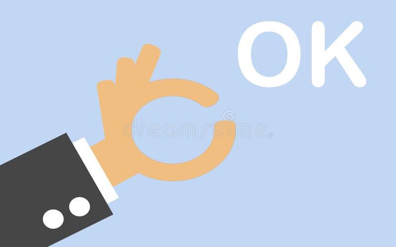 Main comique d'affaires avec l'OK de Word illustration de vecteur