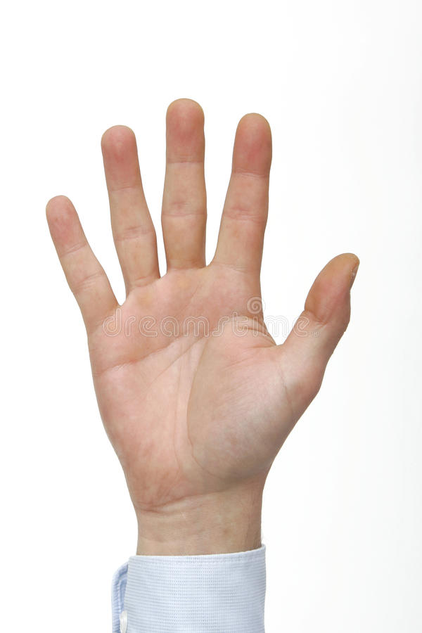 Main comptant cinq photos libres de droits