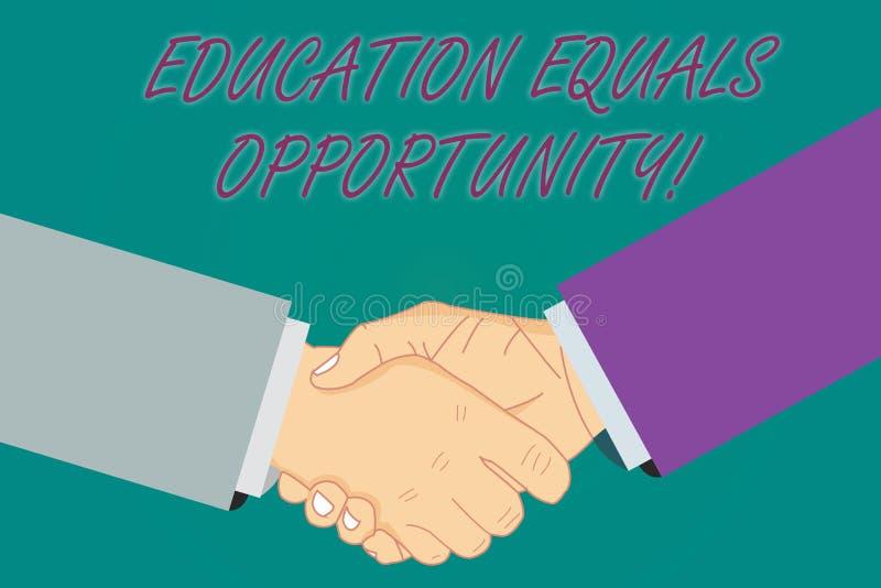 Main conceptuelle écrivant montrant l'égalité des chances d'éducation Photo d'affaires présentant les droites semblables d'acquér illustration de vecteur