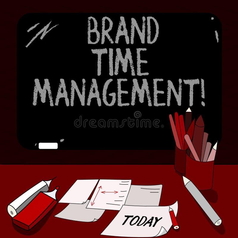 Main conceptuelle écrivant montrant la gestion du temps de marque La présentation de photo d'affaires augmentent la valeur appare illustration stock