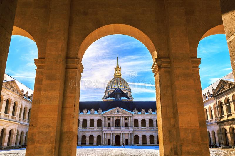 Main courtyard of Les Invalides, Paris, France. stock images