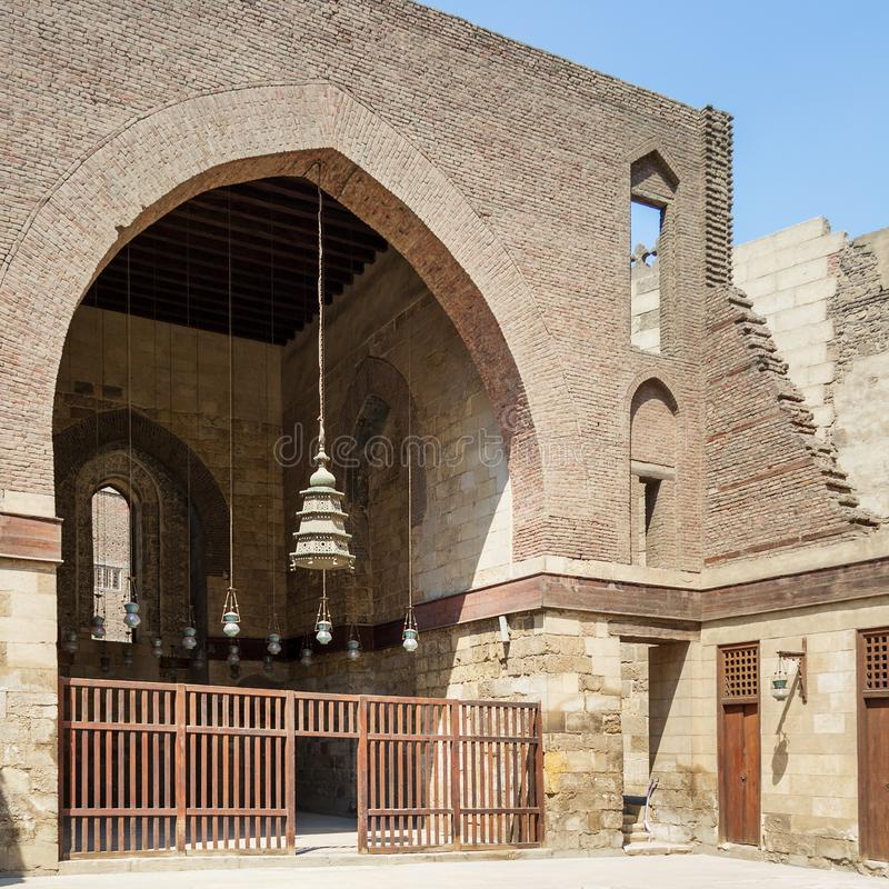 Main courtyard of public historic mosque of Sultan Al Nassir Qalawun, Cairo, Egypt. Main courtyard of public historic mosque of Sultan Al Nassir Qalawun with stock photo