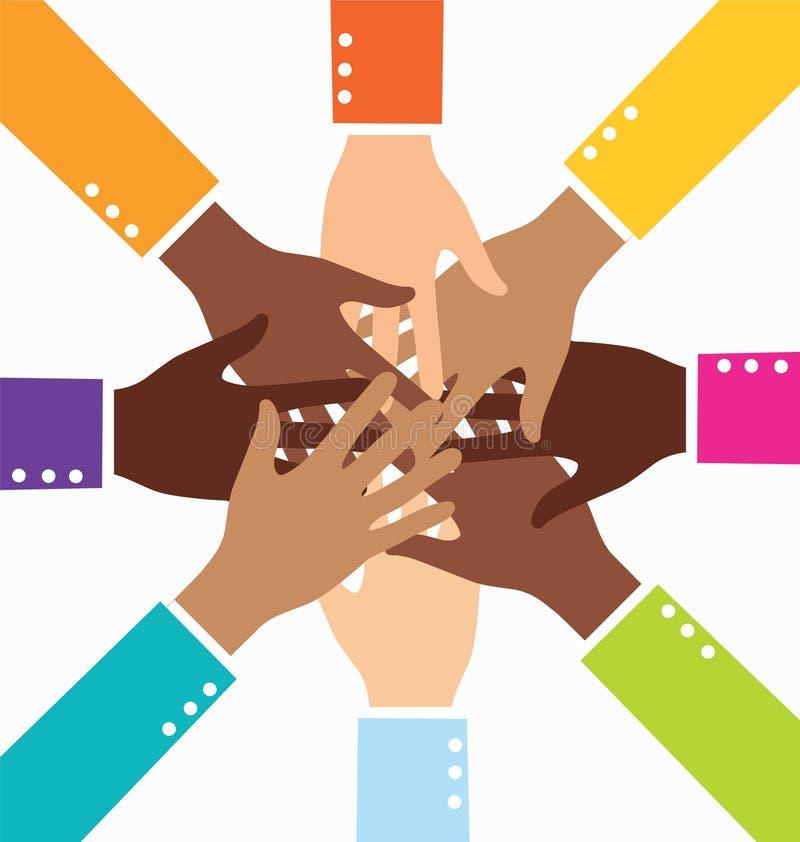 Main créative d'affaires de travail d'équipe de diversité illustration stock