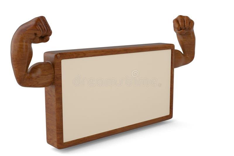 Main créative de muscle de panneau d'affichage sur l'illustration du bois du panneau 3D illustration stock