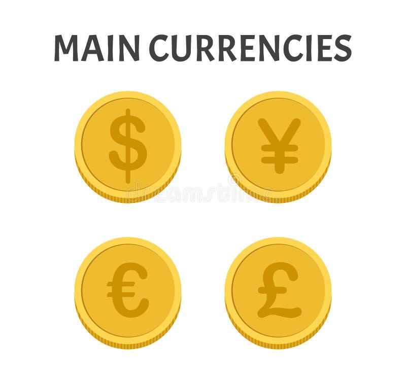 Main currencies coins symbols set stock illustration