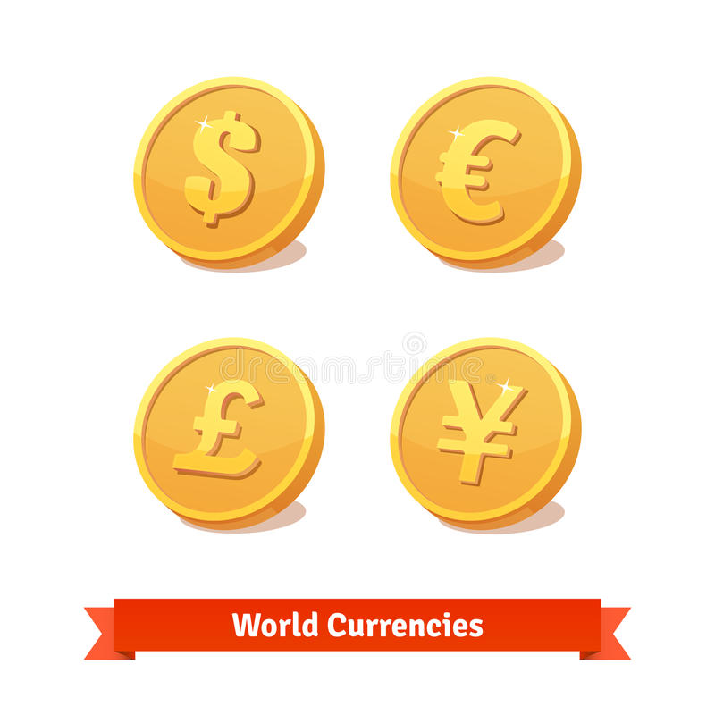 Main currencies symbols represented as gold coins. Main currencies symbols represented as shiny gold coins. Vector icons set stock illustration