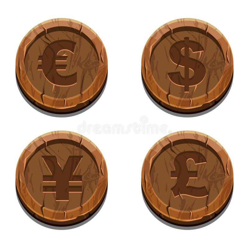 Main currencies symbols, wooden coins stock illustration