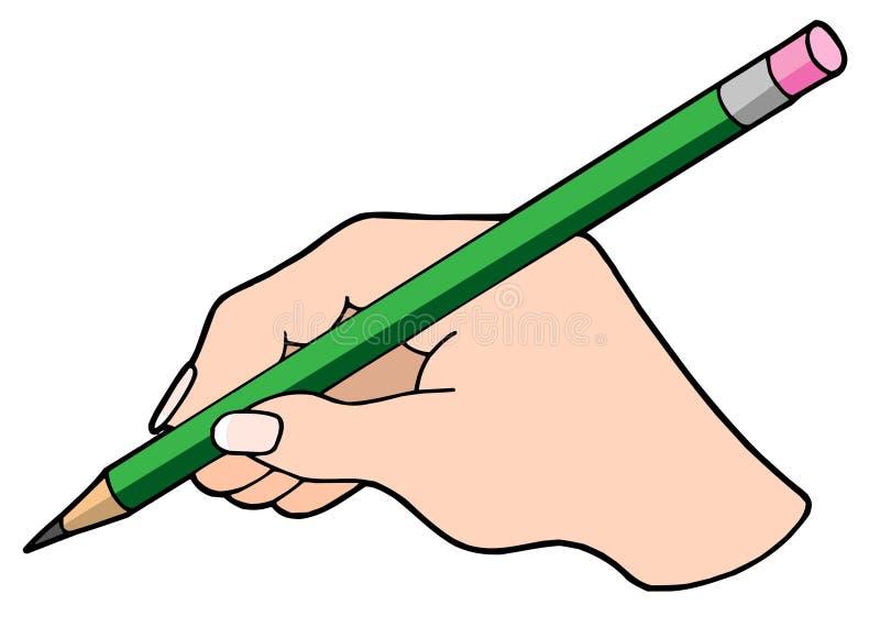 Main d'écriture avec le crayon illustration stock