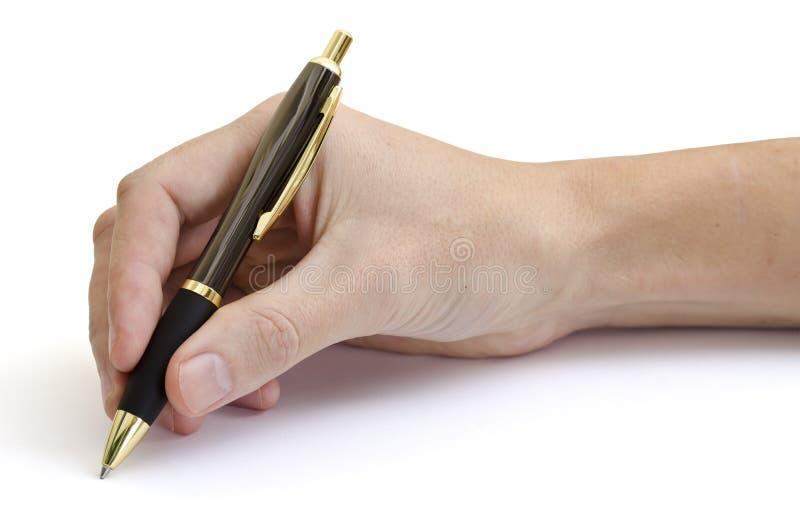 Main d'écriture avec le fond brillant de blanc de stylo images stock