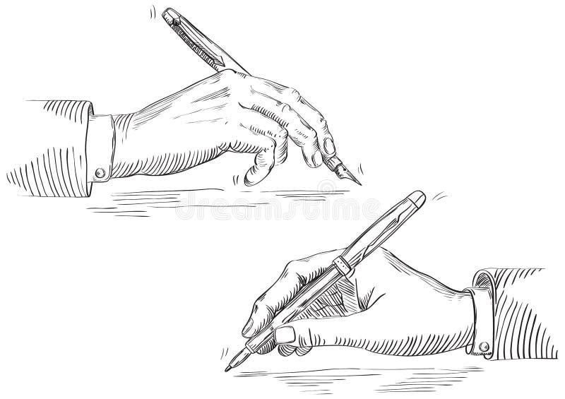 Main d'écriture d'homme d'affaires illustration libre de droits