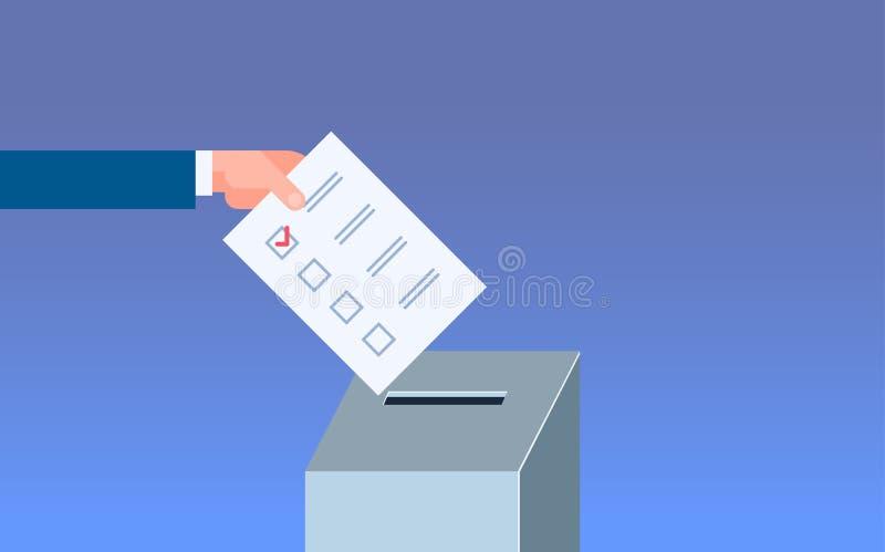 Main d'électeur de concept de jour d'élection mettant la liste de bulletin de vote dans la boîte pendant le vote à plat d'horizon illustration stock