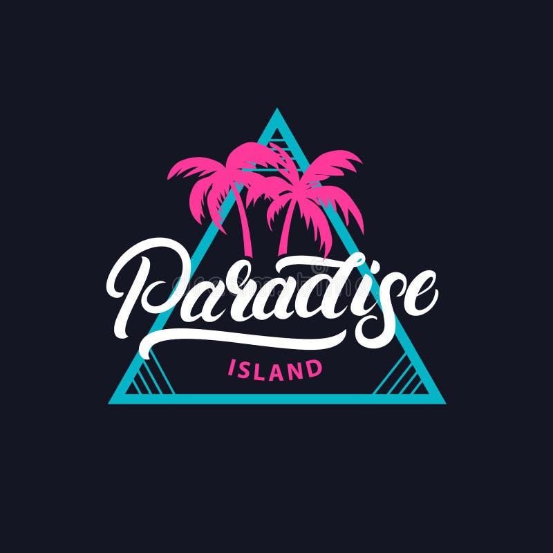 Main d'île de paradis écrite marquant avec des lettres la pièce en t pour imprimer illustration libre de droits
