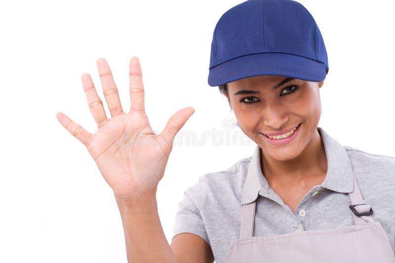 Main-d'œuvre féminine sûr soulevant sa paume, se dirigeant vers le haut de 5 doigts photos stock