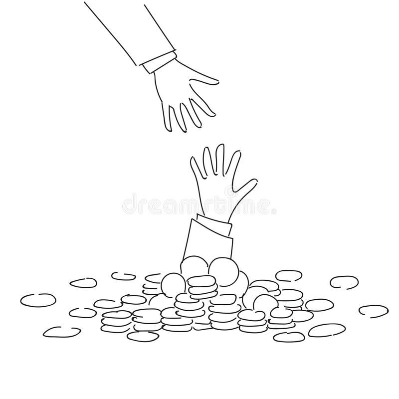 Main d'affaires aidant homme d'affaires From Coin Heap à financer le concept de crise de faillite d'échouer illustration stock