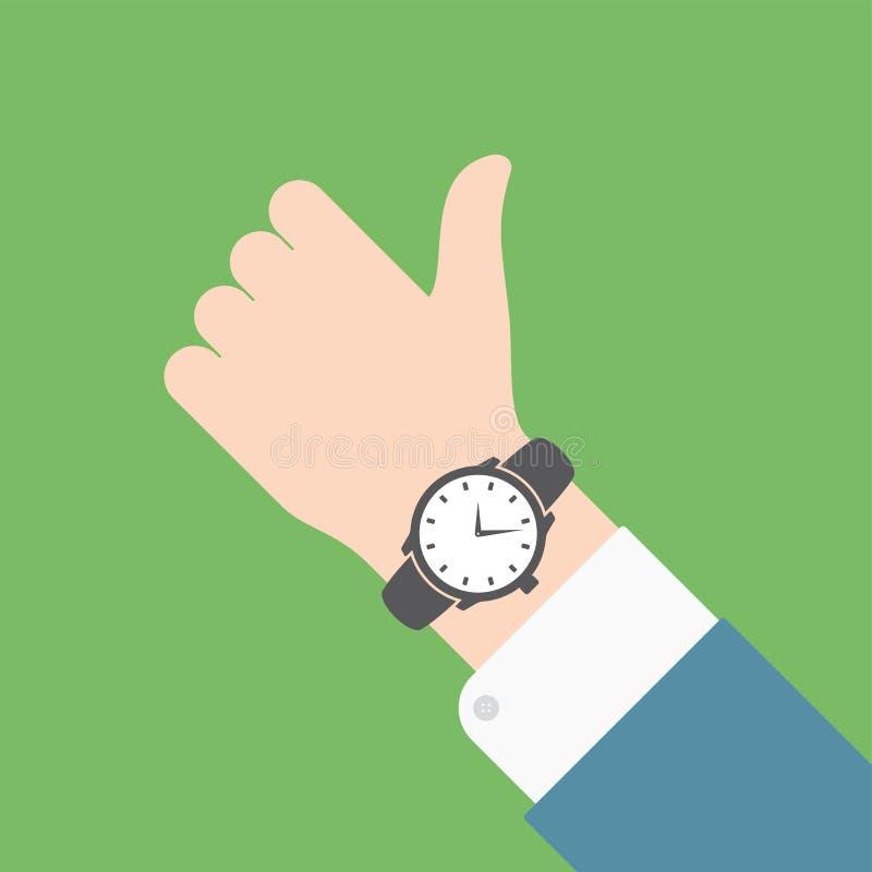 Main d'affaires avec la montre-bracelet classique illustration de vecteur