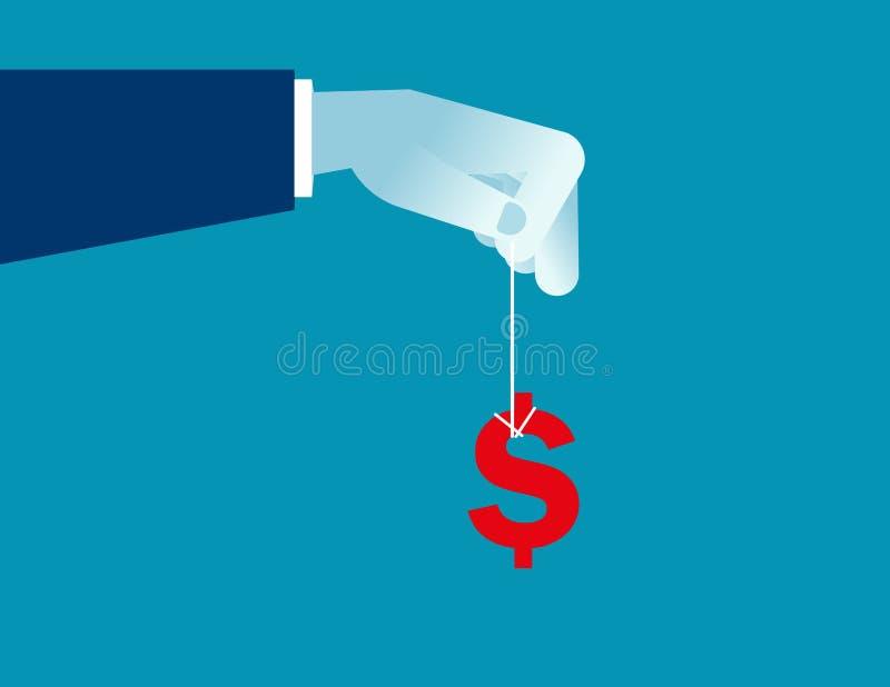 Main d'affaires balançant un signe d'argent illustration stock