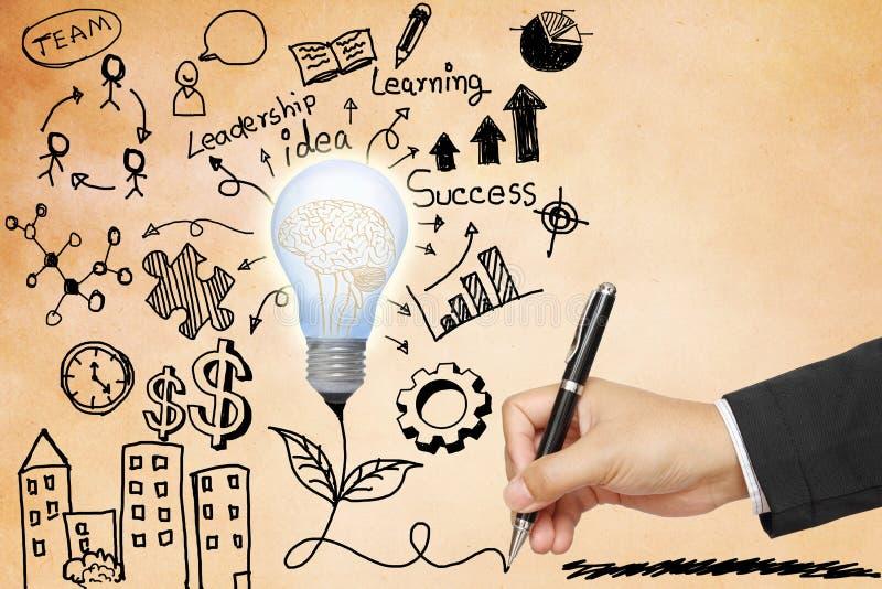 Main d'affaires dessinant l'ampoule avec des symboles images stock