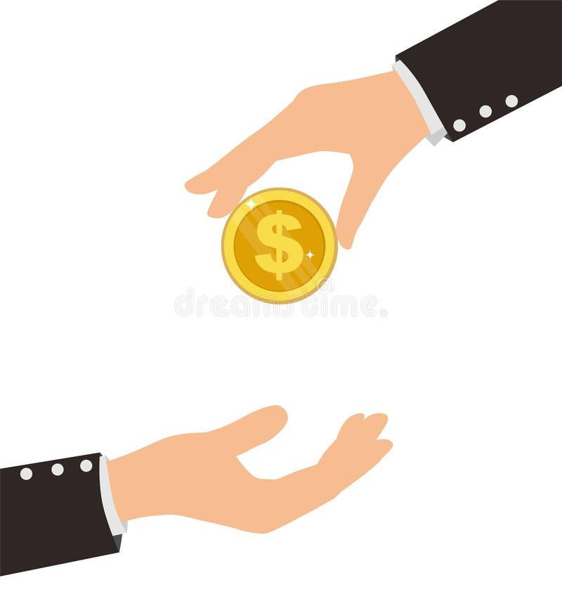 Main d'affaires recevant la pièce de monnaie d'une autre personne illustration libre de droits