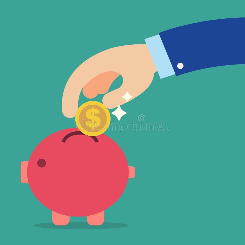 Main d'affaires tenant la pièce de monnaie dans la tirelire rouge illustration libre de droits