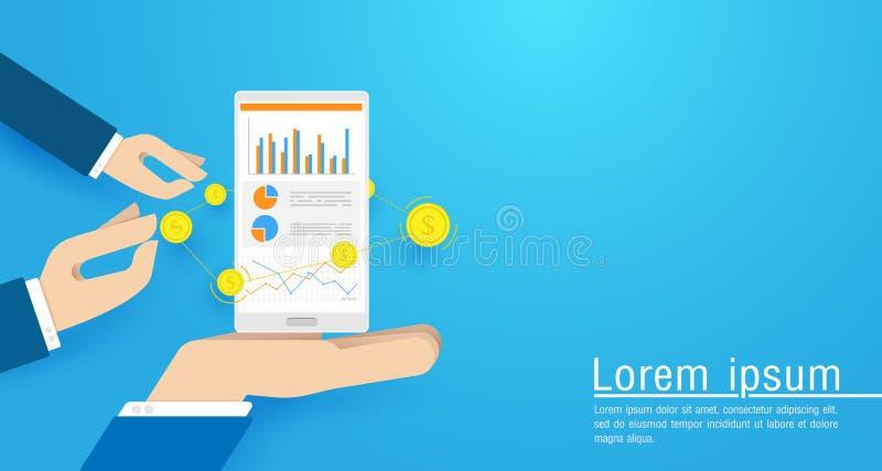 Main d'affaires tenant le téléphone intelligent avec des statistiques en ligne de ventes, diagramme de marché boursier Illustrati illustration de vecteur