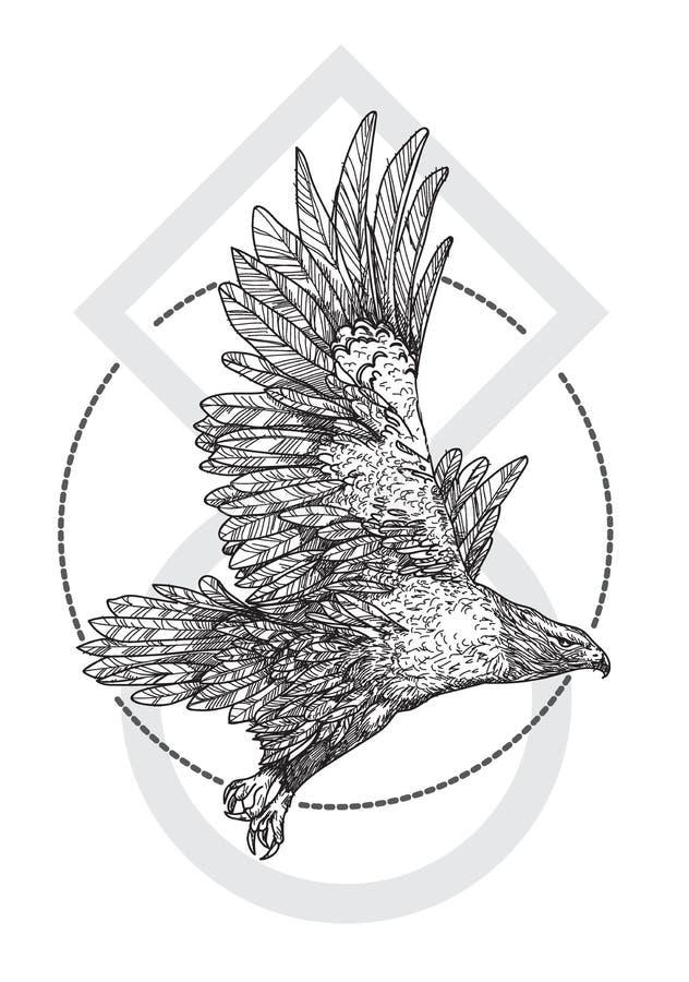 Main d'art de tatouage dessinant Eagle noir et blanc avec illustration de vecteur
