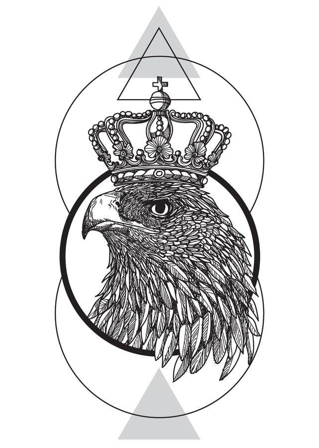 Main d'art de tatouage dessinant Eagle noir et blanc avec schéma illustration libre de droits