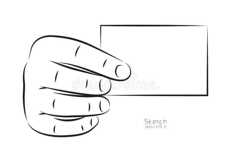 Main d'aspiration et carte de visite professionnelle de visite, vecteur illustration libre de droits