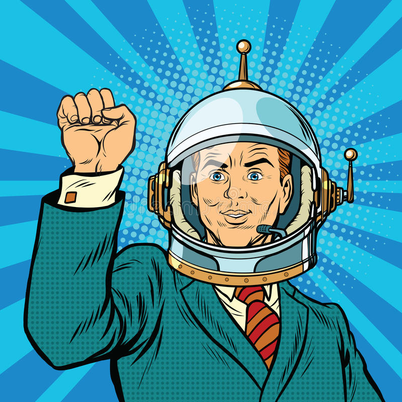 Main d'astronaute d'homme d'affaires dans un geste de l'unité illustration de vecteur