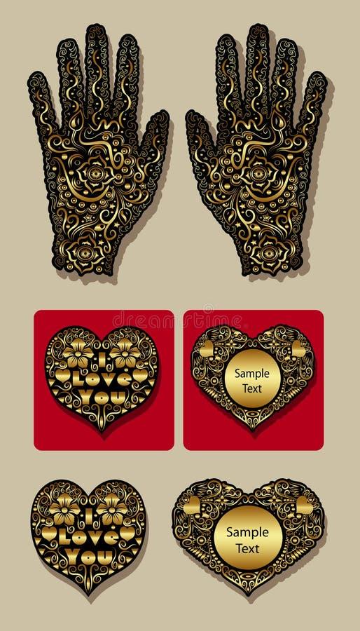 Main d'or de gant et ornement décoratif de coeurs illustration de vecteur