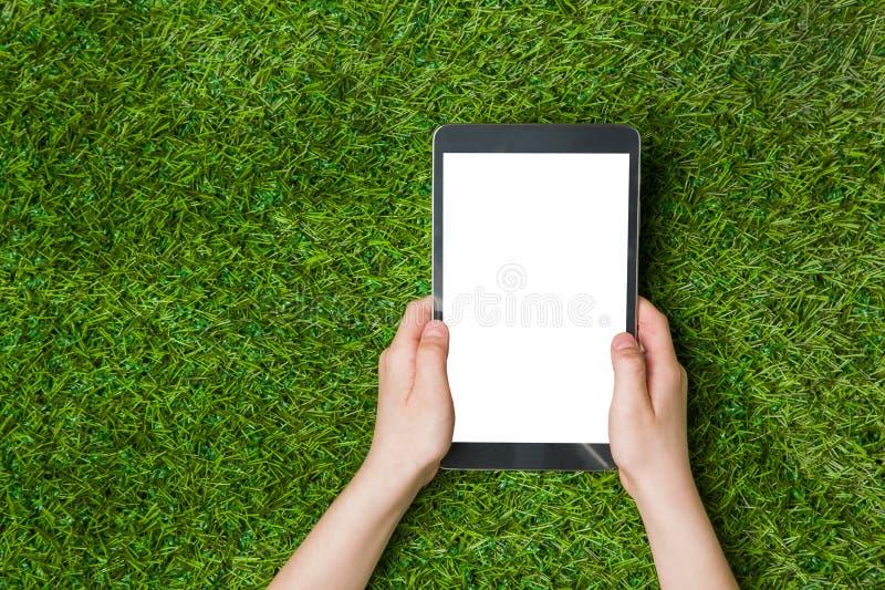 Main d'enfant tenant le PC de comprimé au-dessus de l'herbe verte photos libres de droits