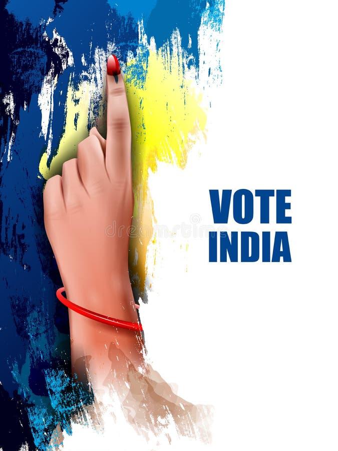 Main d'exposition de bannière d'affiche des personnes indiennes pour la campagne de vote d'élection et de vote de l'Inde illustration de vecteur