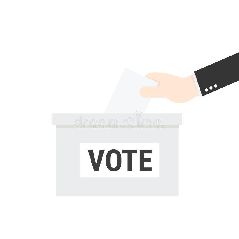Main d'homme d'affaires mettant le bulletin de vote dans l'urne  illustration libre de droits