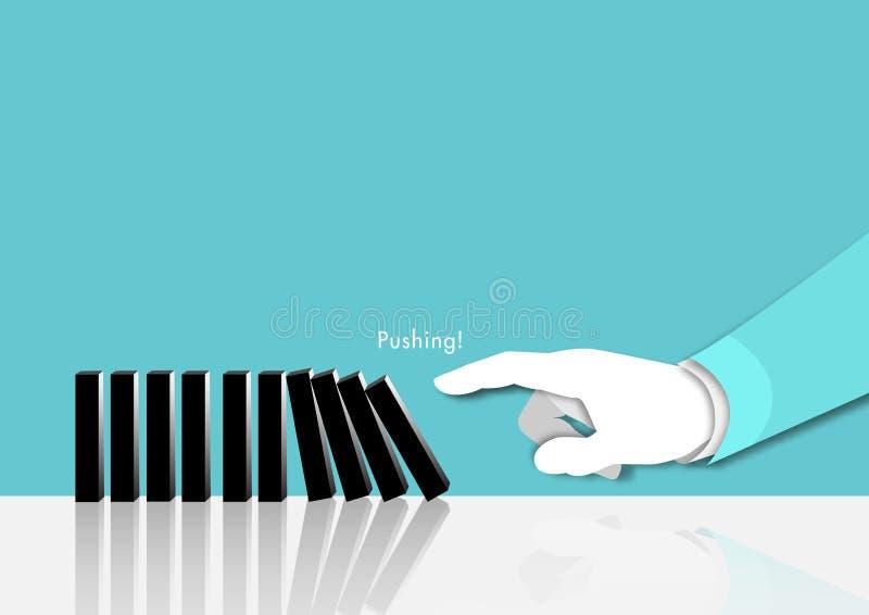 Main d'homme d'affaires poussant des dominos pour le début sur le vecteur bleu de risque de planification de fond illustration de vecteur