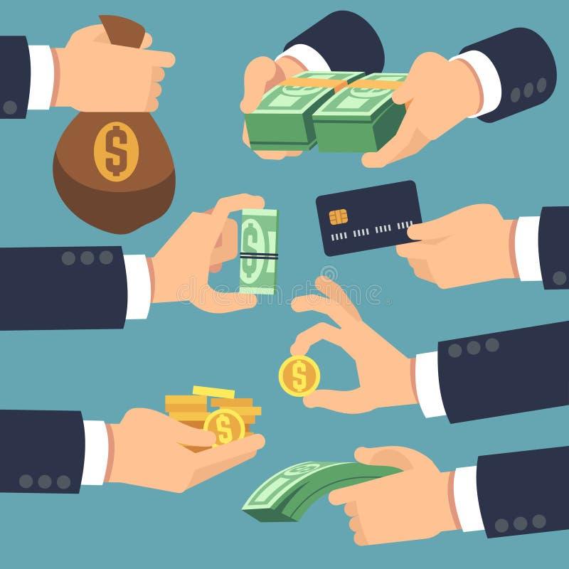 Main d'homme d'affaires tenant l'argent Icônes plates pour le prêt, le paiement et l'argent liquide concept arrière illustration libre de droits