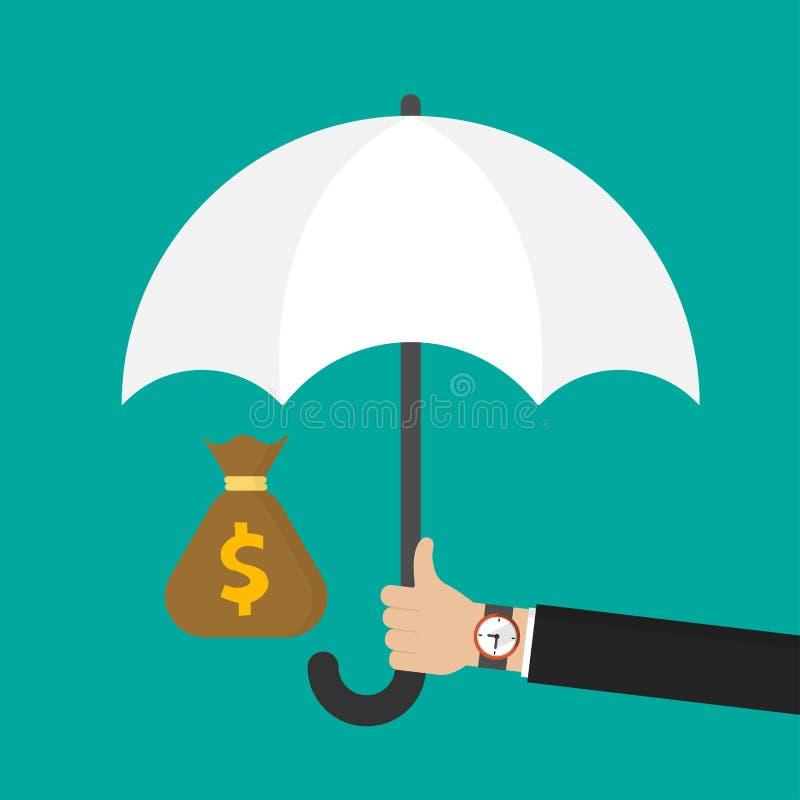 Main d'homme d'affaires tenant un parapluie blanc pour protéger le sac d'argent Illustration plate de vecteur de conception illustration libre de droits