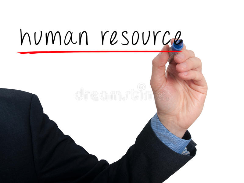 Main d'homme d'affaires écrivant la ressource humaine dans le ciel photos libres de droits
