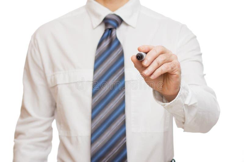 Main d'homme d'affaires avec le marqueur photos stock