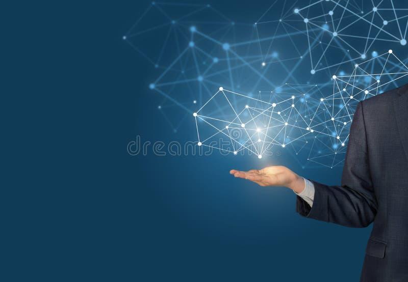 Main d'homme d'affaires démontrant les lignes numériques de connexion illustration de vecteur