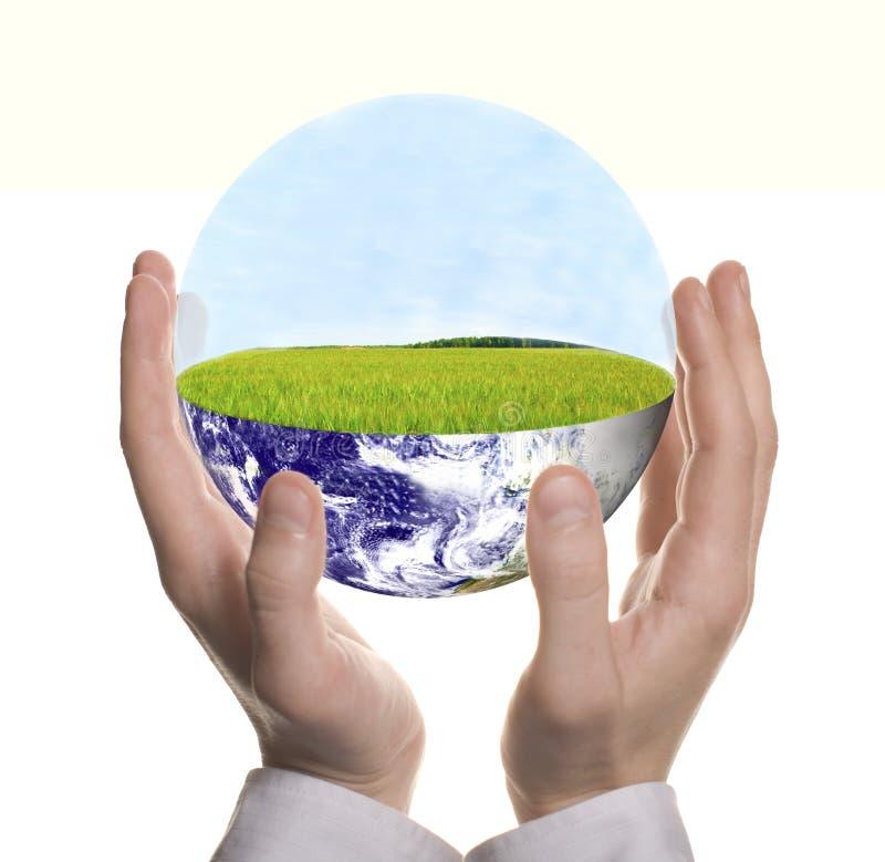 Main d'homme d'affaires formée par bien avec la terre verte photo libre de droits