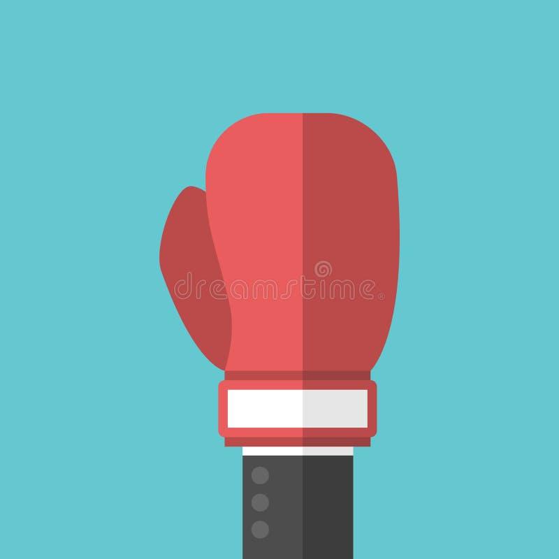 Main d'homme d'affaires, gant de boxe illustration stock