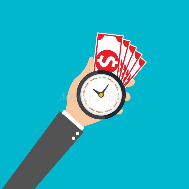 Main d'homme d'affaires tenant l'horloge et l'argent, heure pour le succès, vecteur illustration libre de droits