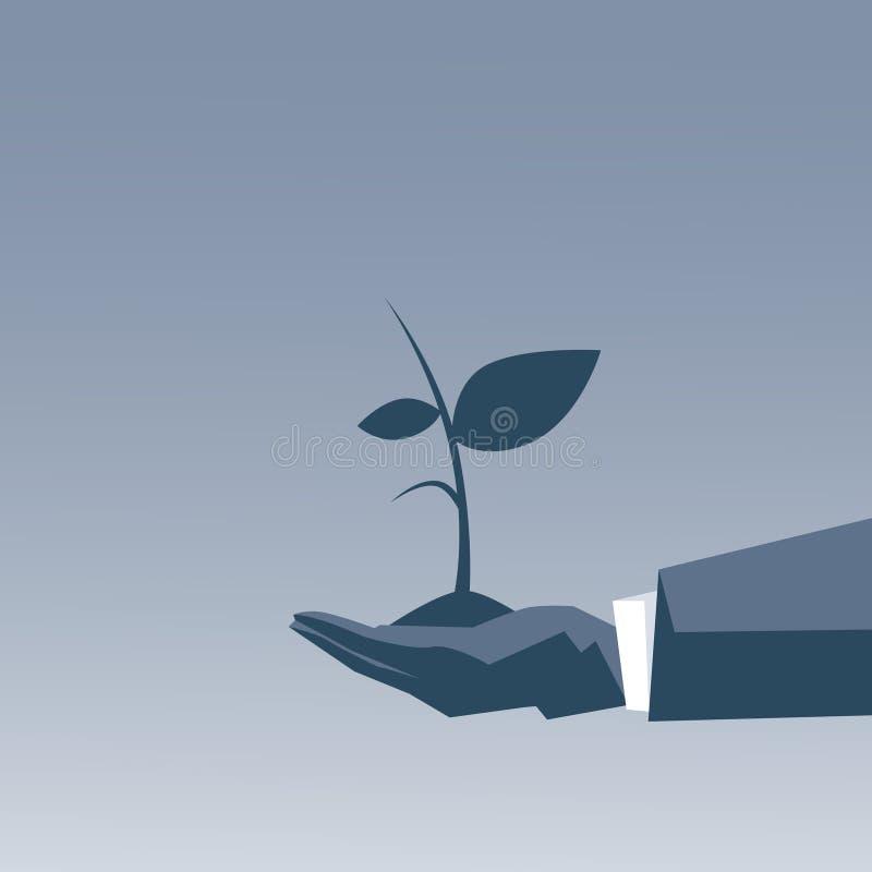 Main d'homme d'affaires tenant le concept de croissance de projet d'usine illustration stock