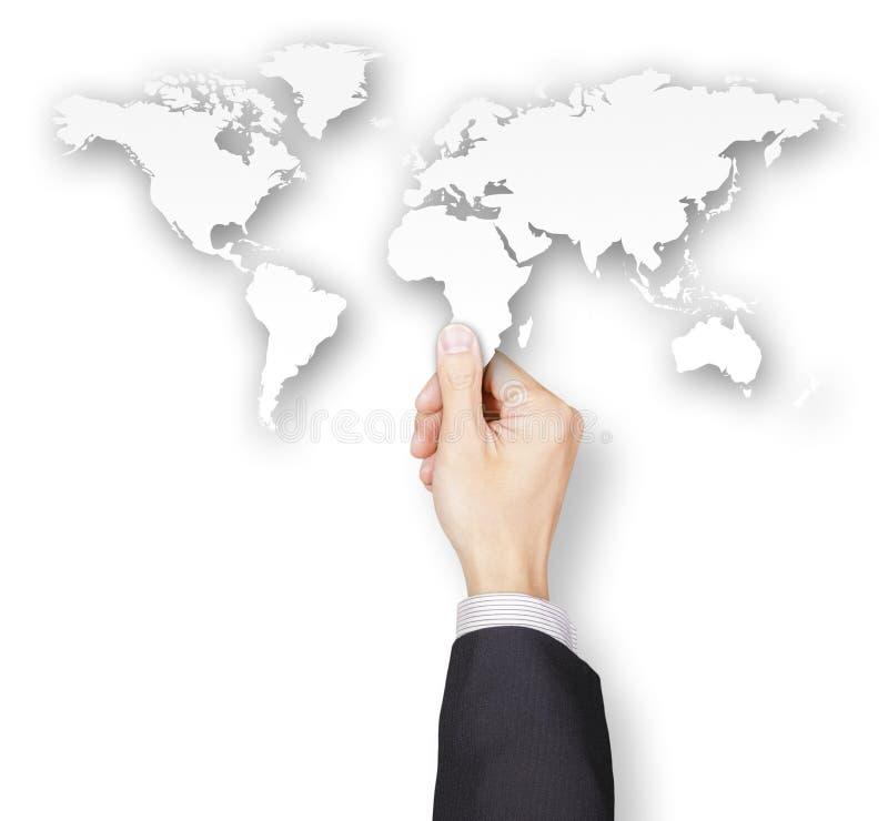Main d'homme d'affaires tenant le papier de carte du monde illustration de vecteur