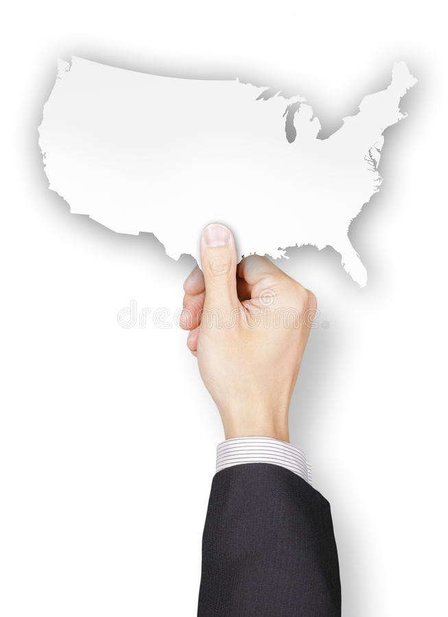 Main d'homme d'affaires tenant le papier formé par Etats-Unis images libres de droits