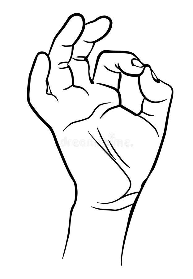 Main d'homme montrant le signe correct illustration stock