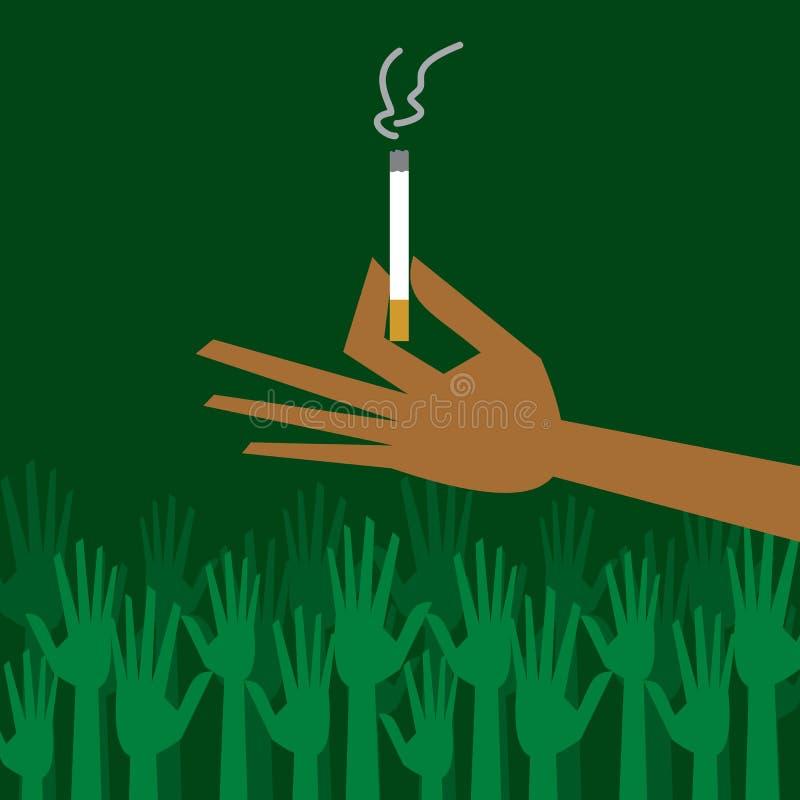 Main d'homme retenant une cigarette avec de la fumée illustration libre de droits