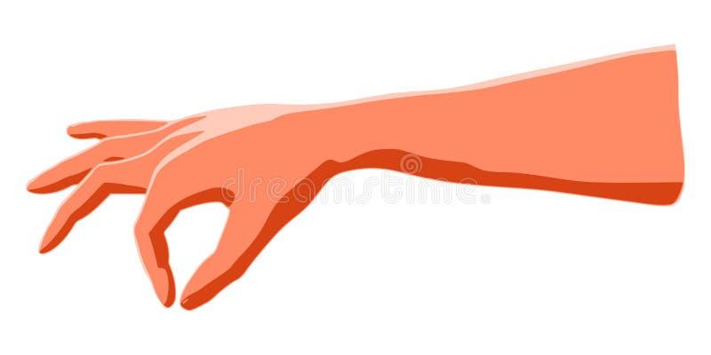 Main d'isolement comme concept à montrer le pincement stylisé par les doigts humains illustration libre de droits