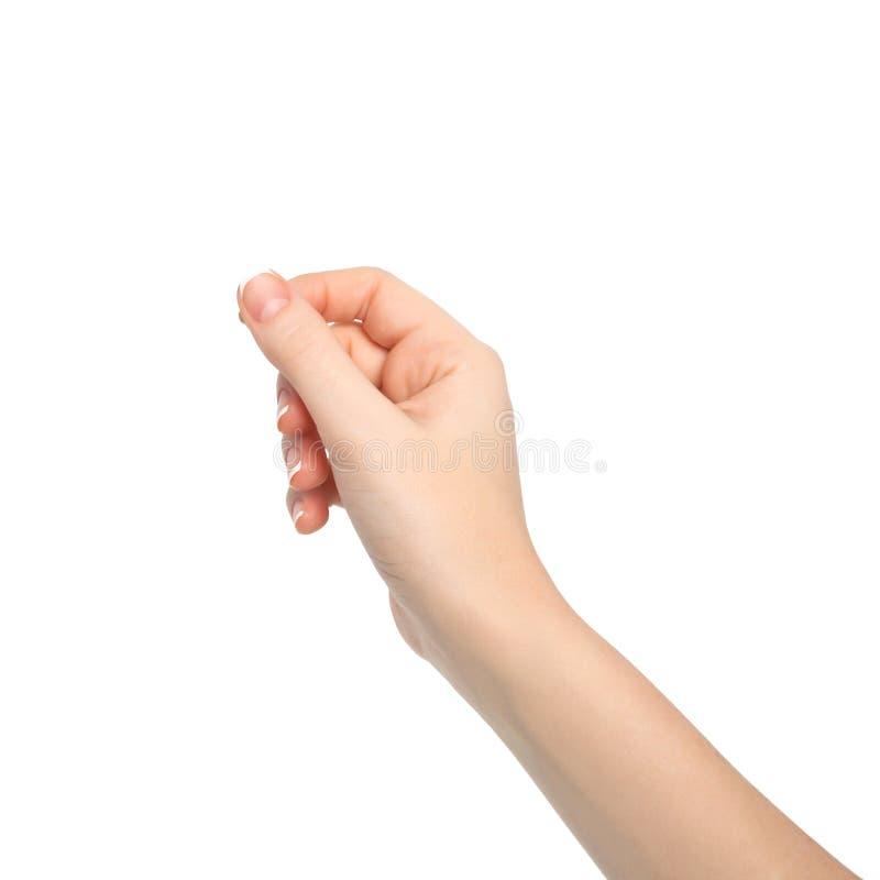 Main d'isolement de femme tenant un objet photo libre de droits