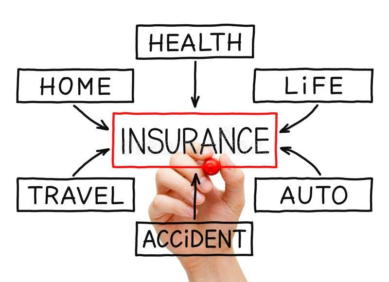Main d'organigramme d'assurance image stock