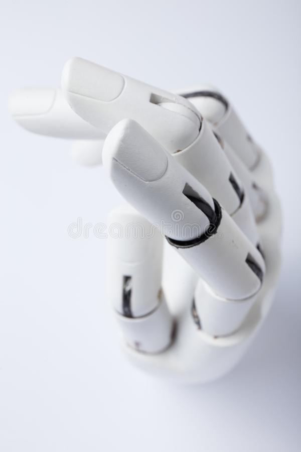 Main d'un robot sur un fond blanc illustration stock